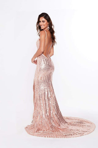 In stock - Olivia Sequin Gown - Rose Gold