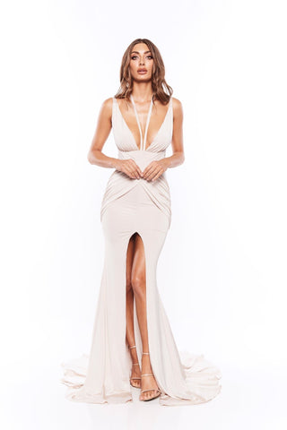 Orlena - Oyster Plunge Neck Jersey Gown with Low Back & Front Slit