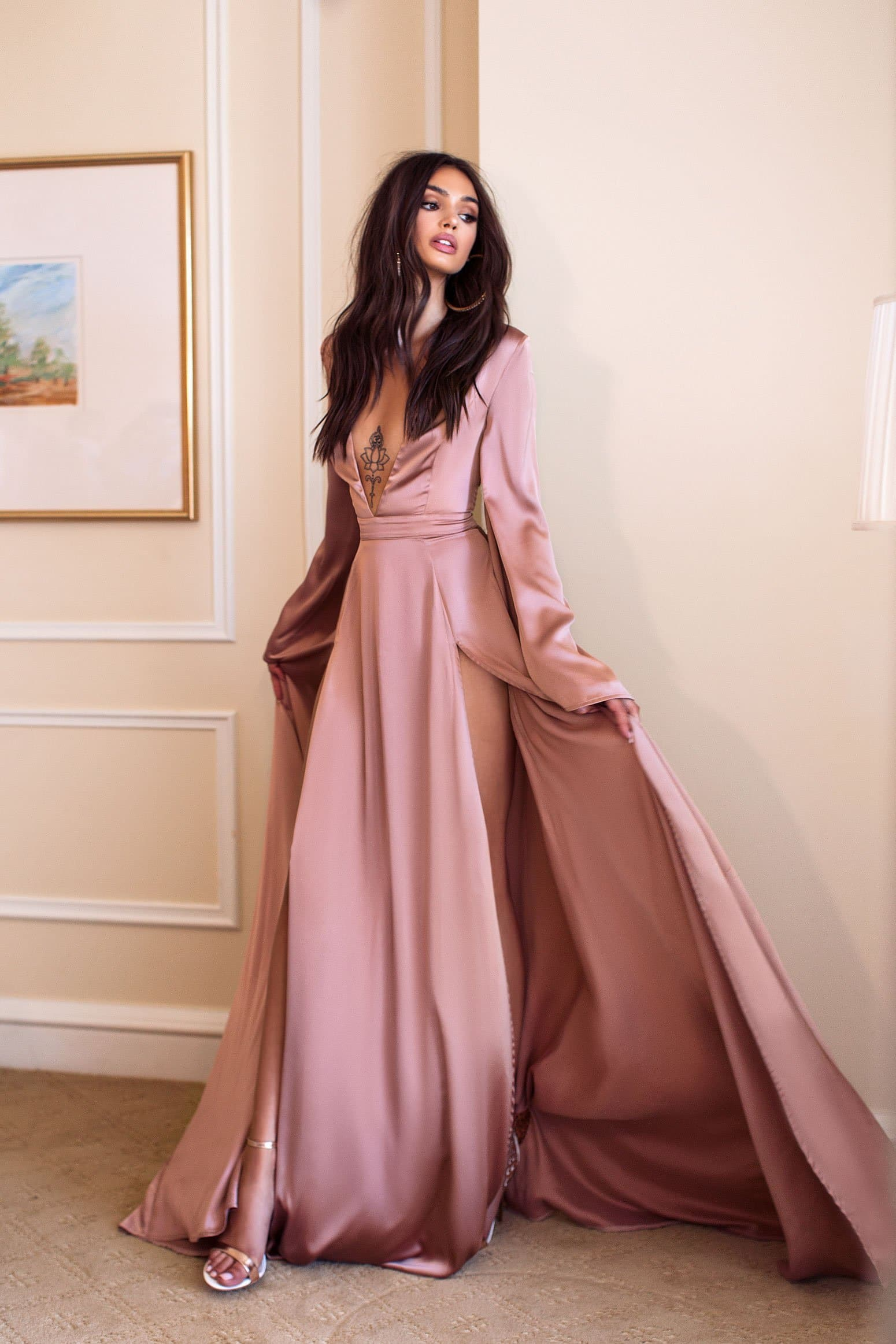 Olesya Formal Gown - Rose Satin Flare Long Sleeve Plunge Splits Gown