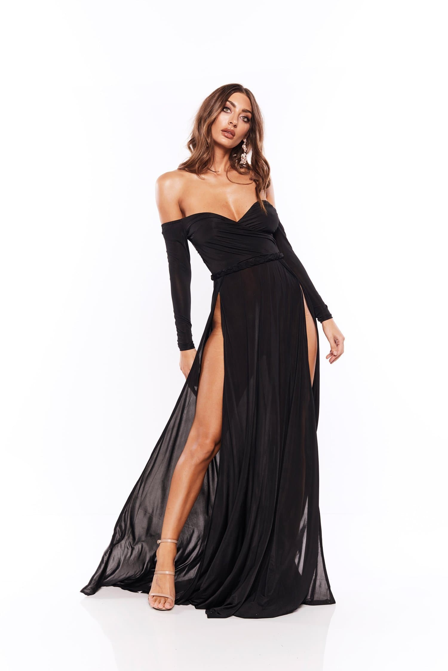 Parnella - Black Off Shoulder Long Sleeve Jersey Gown with Slit