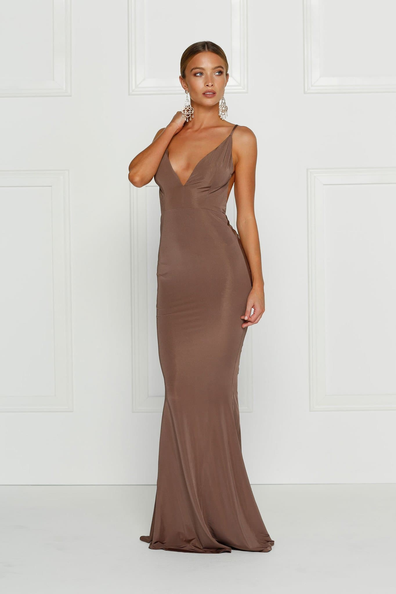 Penelope - Chocolate Brown Jersey Gown with Low Back & V-Neckline
