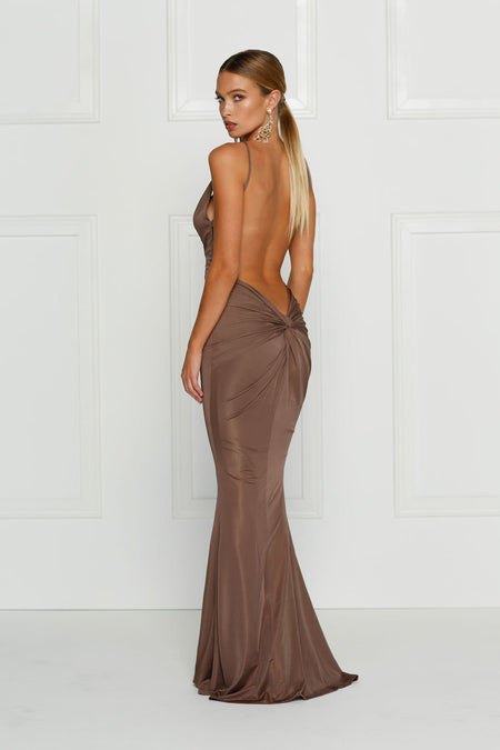 A&N Kylie Sequin Gown- Chocolate Brown