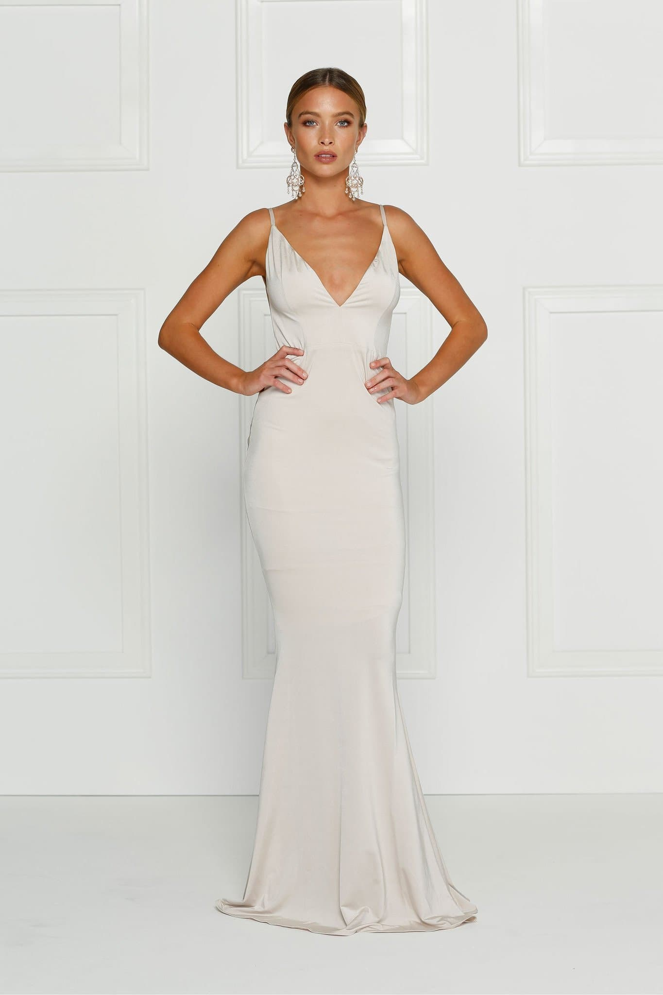 Penelope - Oyster Jersey Gown with Low Back   Plunge Neckline – A N Luxe  Label 0d82fd321