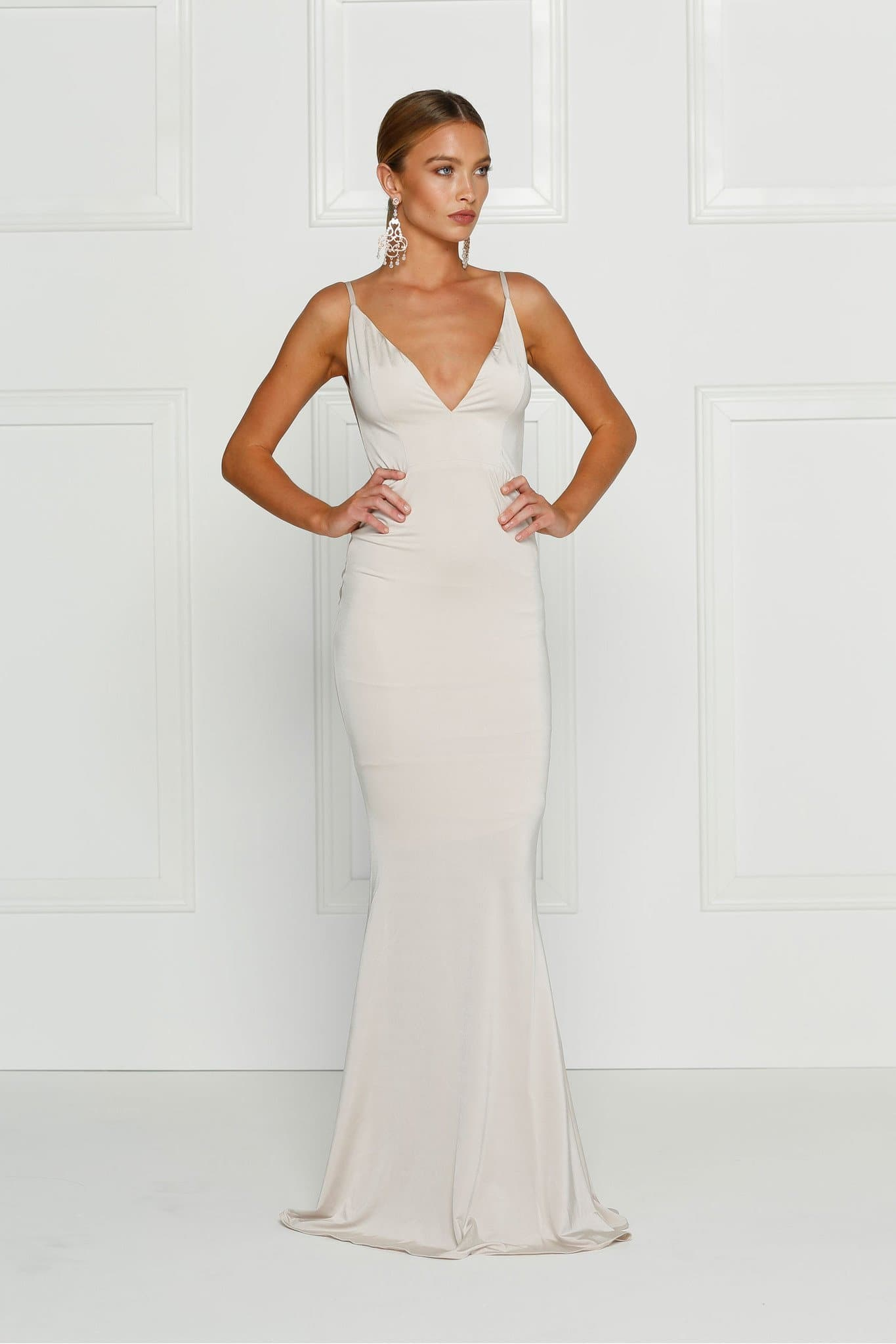 Penelope - Oyster Jersey Gown with Low Back & Plunge Neckline