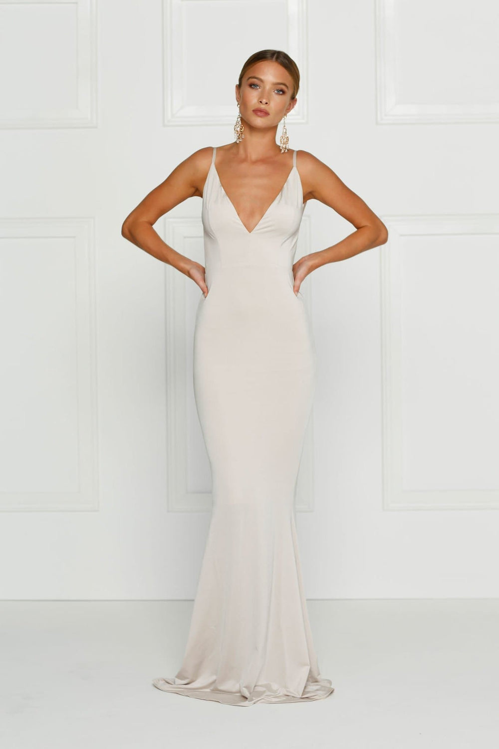 Penelope - Oyster Jersey Gown with Low Back   Plunge Neckline – A N ... ef4f0b12d