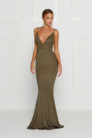 Penelope - Olive Jersey Gown with Low Back & Plunge Neckline