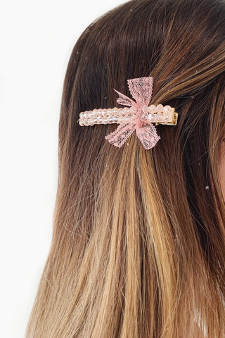 Pink Crystal Hair Clip with Light Pink Ribbon Detailing