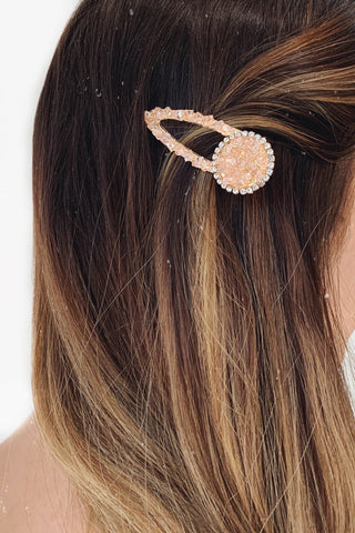 Pink Crystal Teadrop Hair Clip with Diamonds