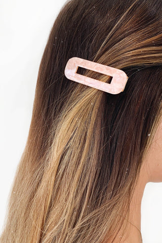Pink Marbel Rectangle Hair Clip