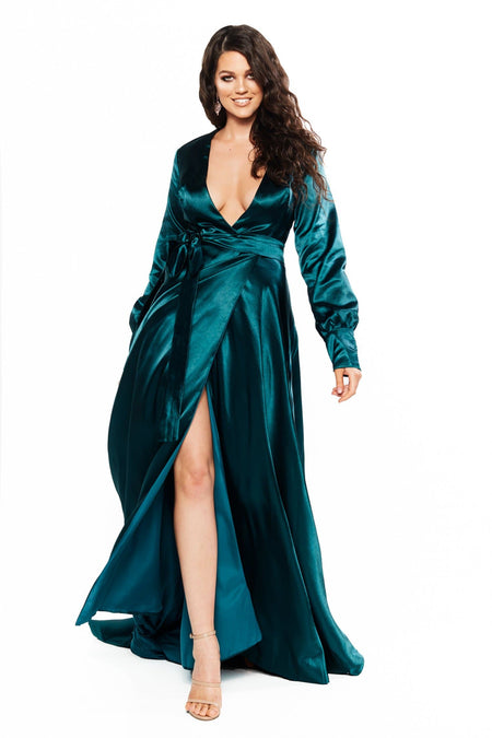 A&N Curve Bianca Satin Gown - Teal