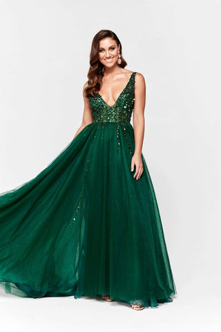 In Stock - Princessa Tulle V Neck Gown - Emerald