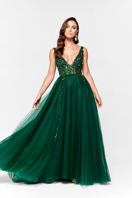 A&N Camila Cocktail Dress - Emerald