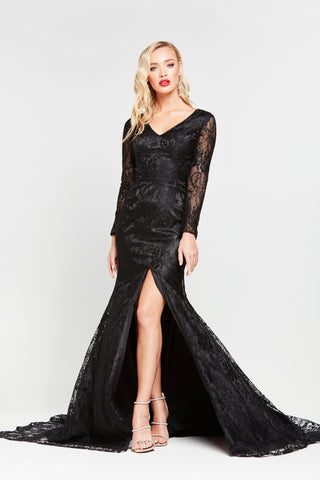 A&N Renee - Long Sleeve Black Lace Gown with Mermaid Train