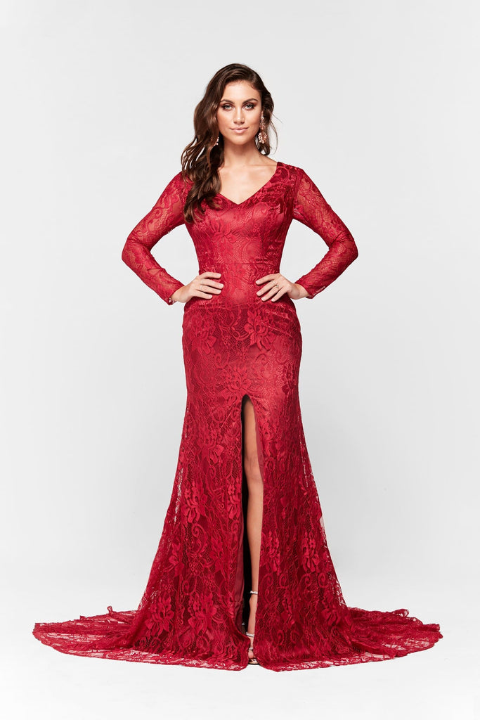 Renee Formal Gown - Long Sleeve Conservative Red Lace Mermaid Dress ...