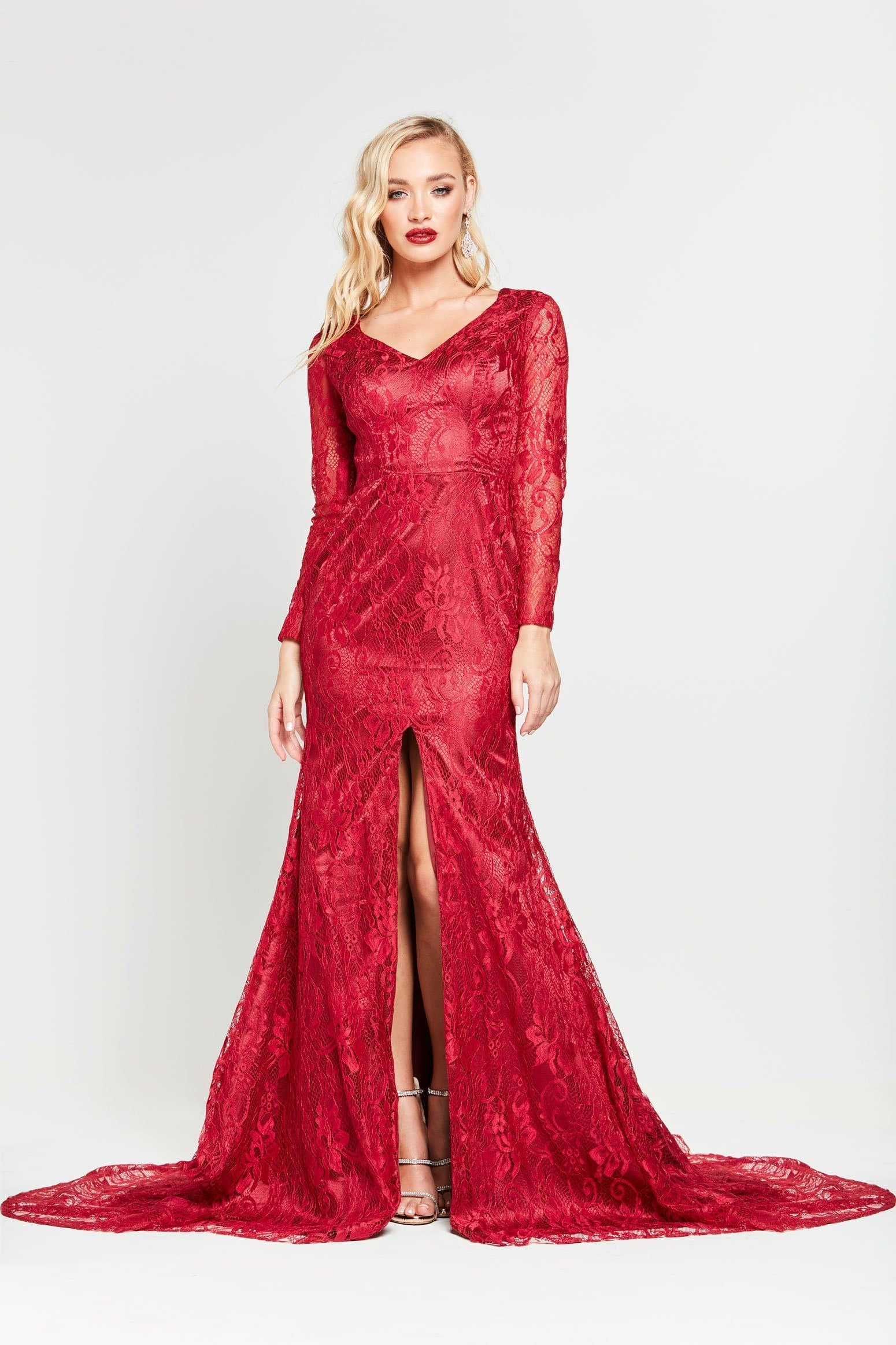 A&N Renee - Long Sleeve Red Lace Formal Gown with Mermaid Train