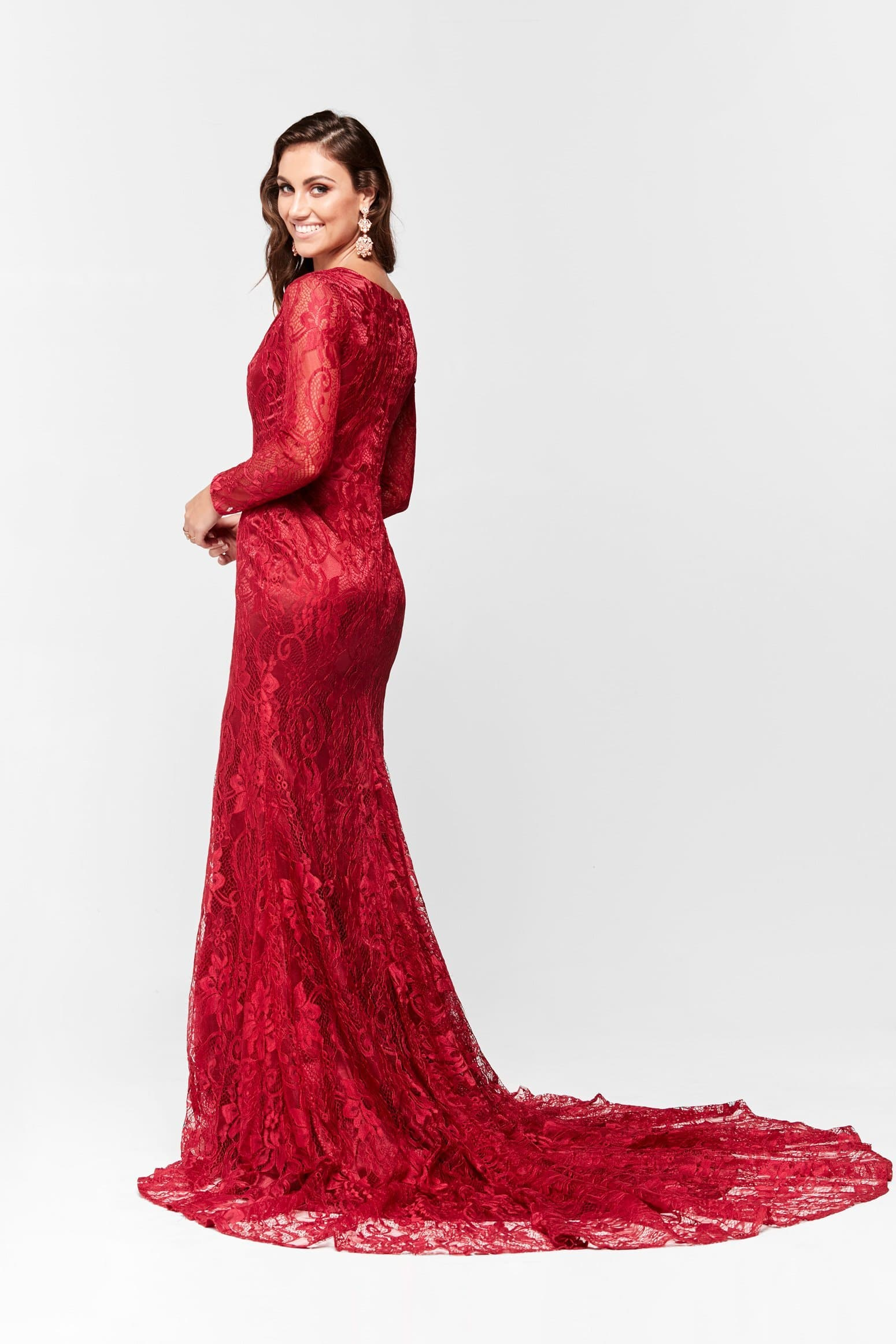 A&N Renee Long Sleeve Lace Gown - Deep Red