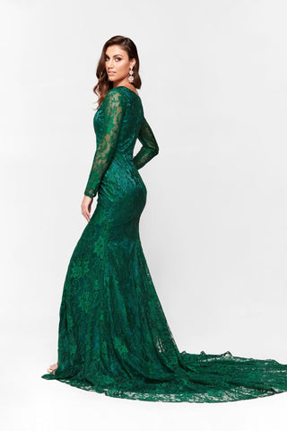 A&N Renee - Long Sleeve Emerald Lace Gown with Mermaid Train