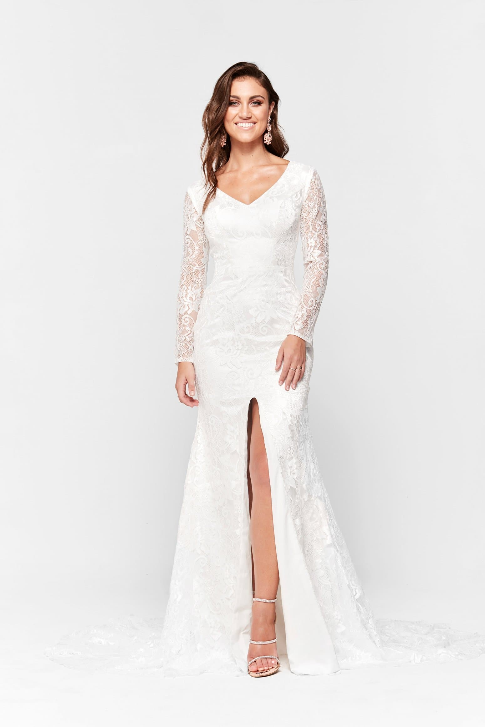 A&N Renee - Long Sleeve White Lace Gown with Mermaid Train – A&N ...