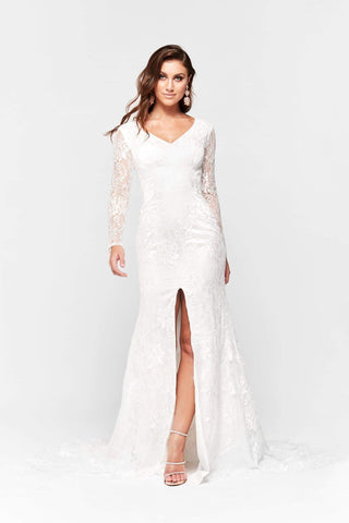 A&N Renee - Long Sleeve White Lace Gown with Mermaid Train