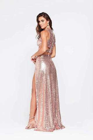 A&N Roxy - Rose Gold Sequin Two Piece Gown with Cut Out Sides