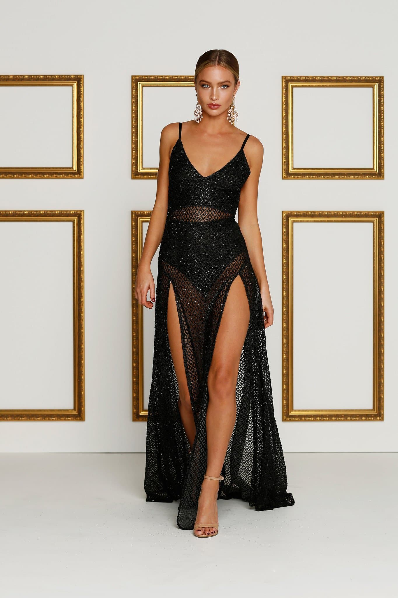 Rozay - Black Sheer Glitter Gown with Two Side Slits & Low Back