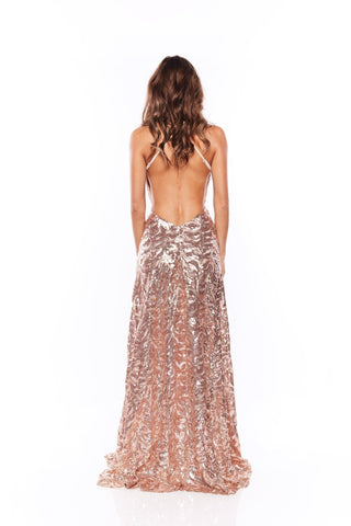 Samira - Rose Gold Sequin Gown with V Neck and Side Slit