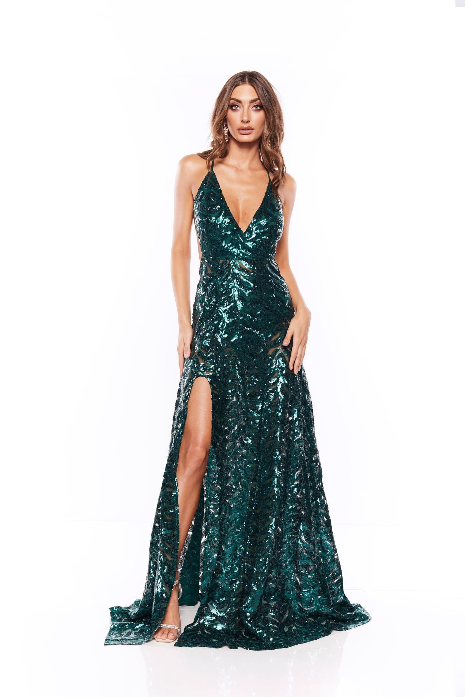 Samira - Emerald Sequin Gown with V Neck and Side Slit