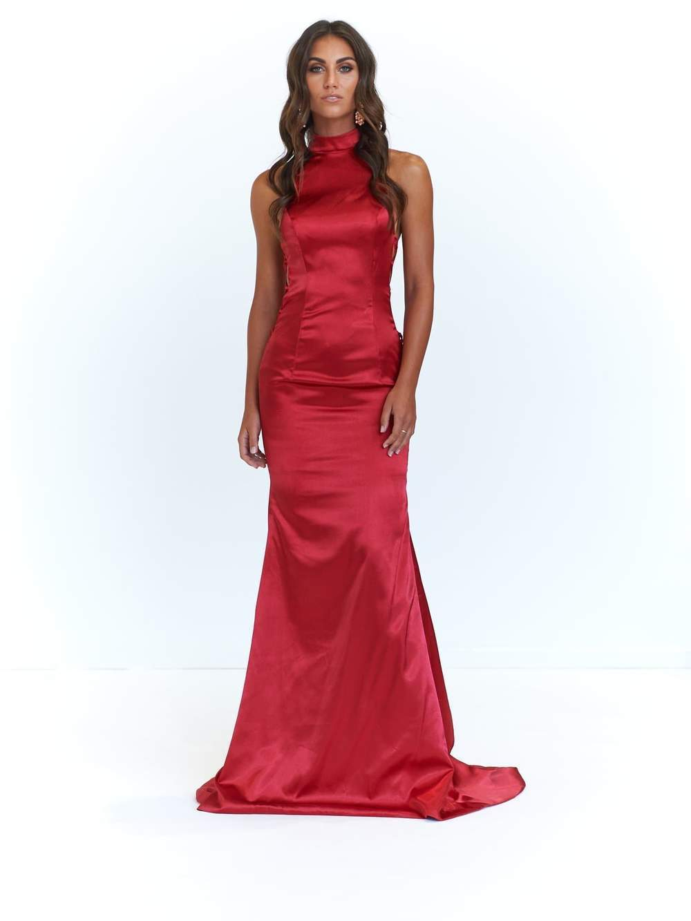 Final sale - Aida Satin Gown - Deep Red