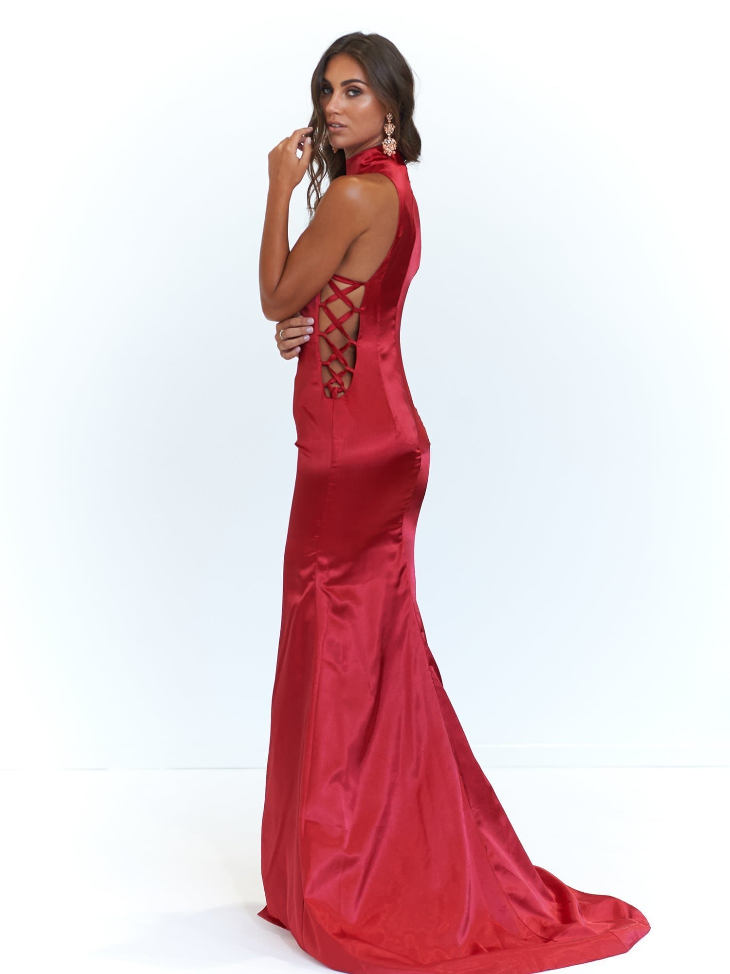 A&N Aida - Deep Red Satin High Neck Dress with Criss Cross Side Detail