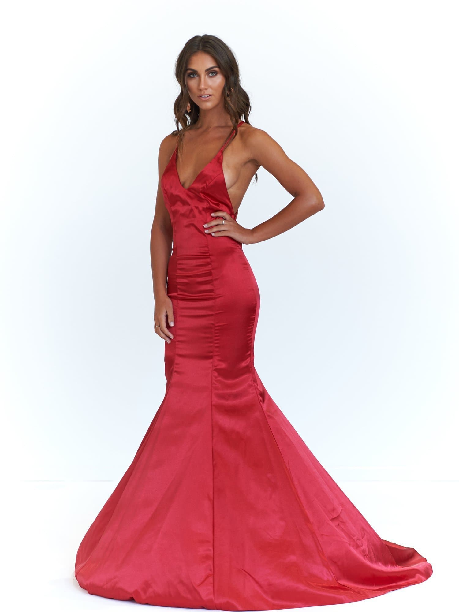 A&N Bahar -Deep Red Satin Gown with V Neck and Lace Up Back