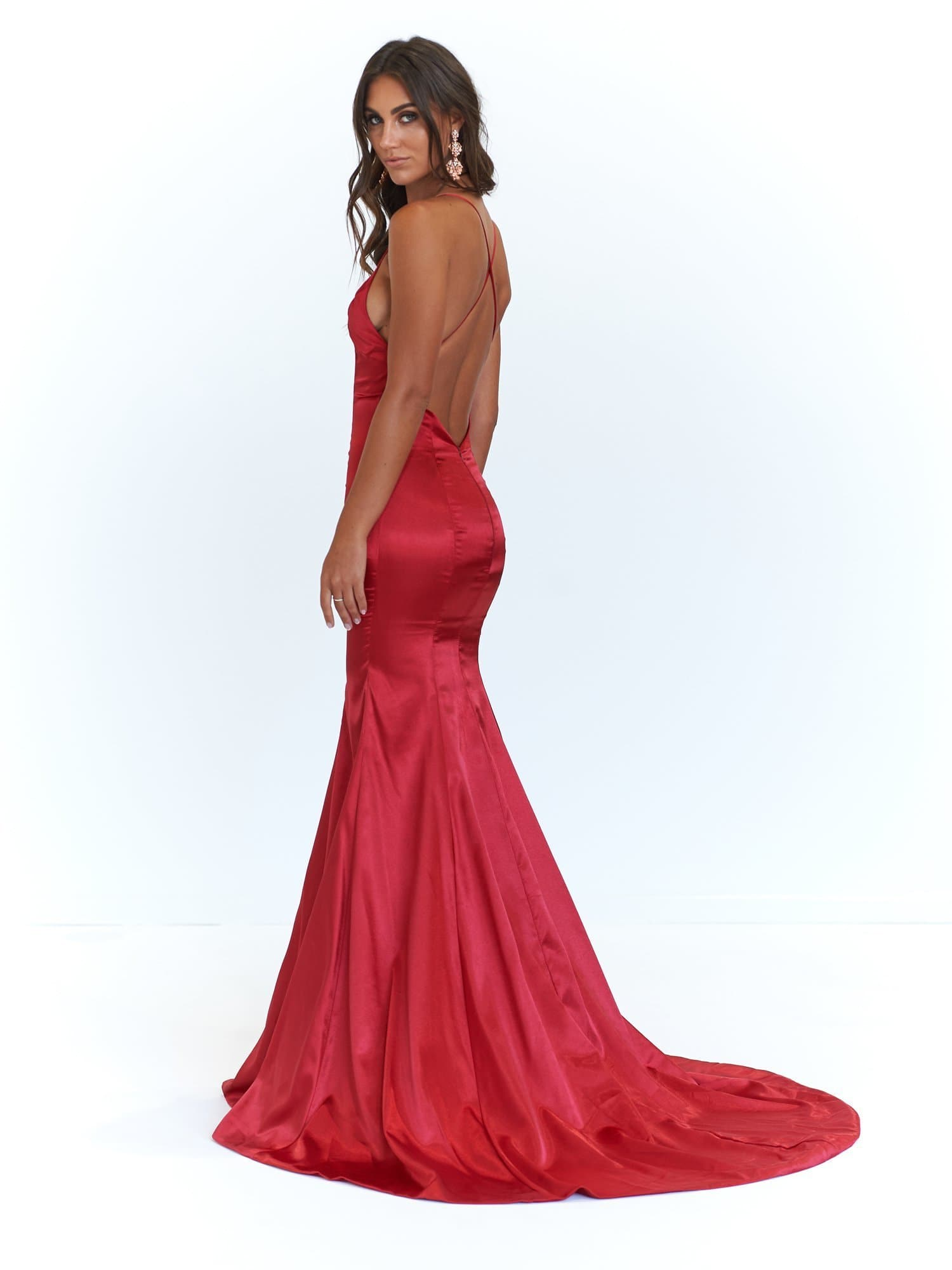 A&N Cadence - Deep Red Satin Gown with Back Detail and Mermaid Train ...