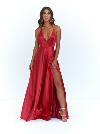 A&N Amani - Red Satin Gown with Side Slit and Low Back