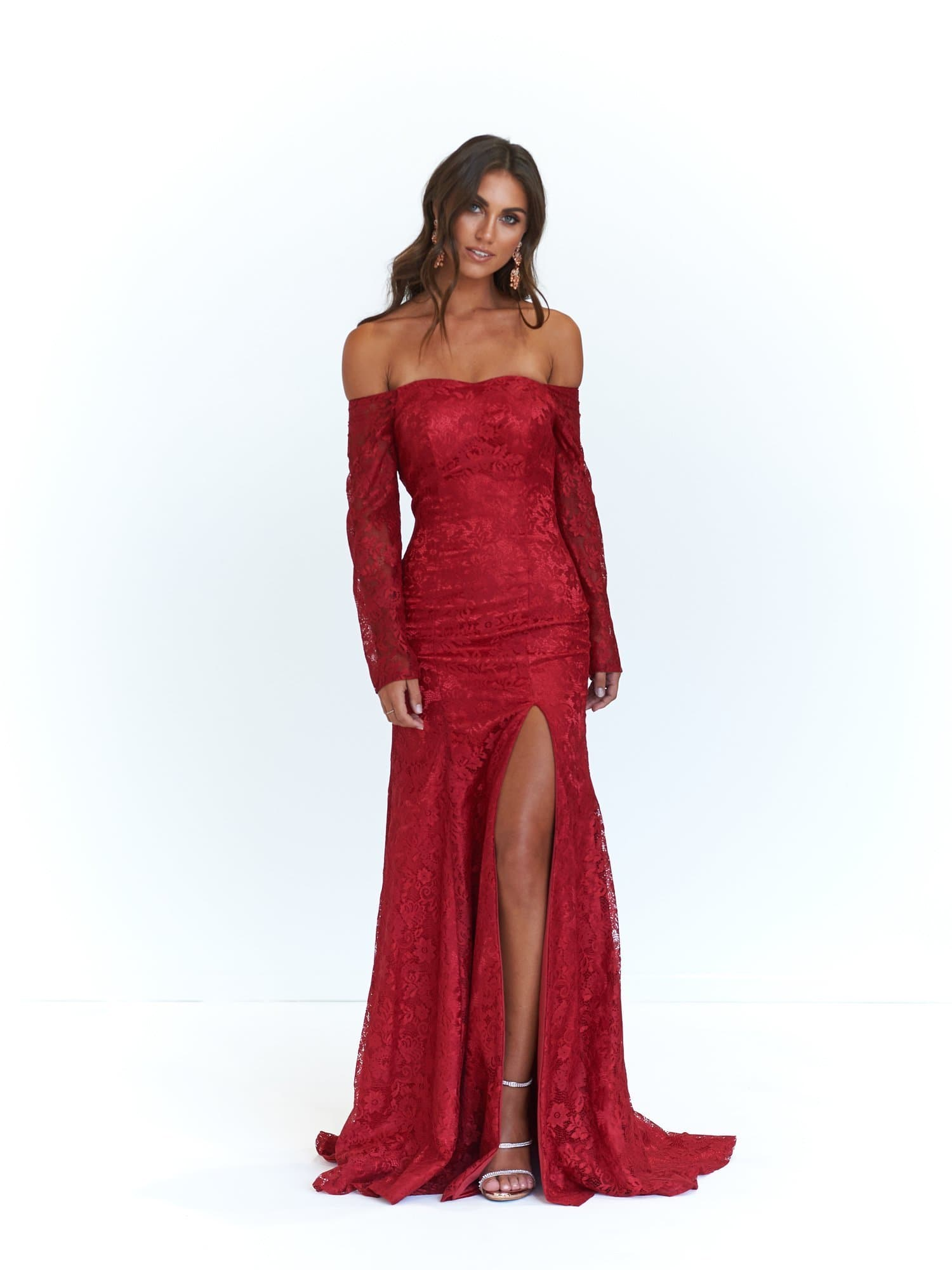 f5365124f782 A N Duaa -Deep Red Off-Shoulder Lace Gown with Long Sleeves – A N ...