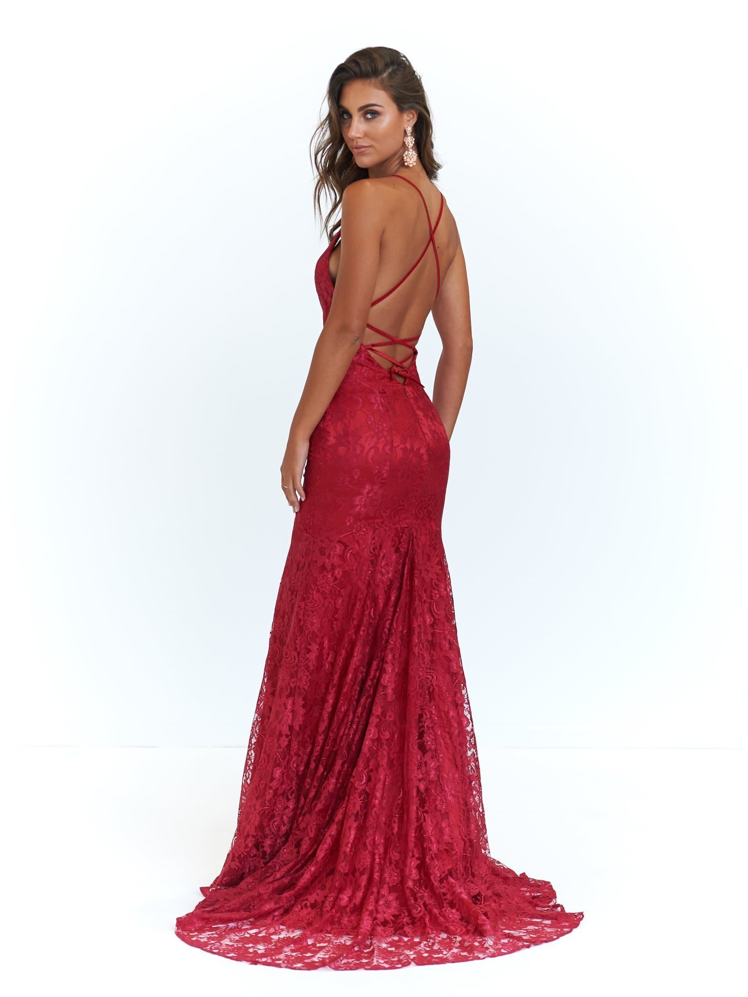 A&N Luxe Aisha Gown - Deep Red Lace Up Mermaid Gown with Low Back