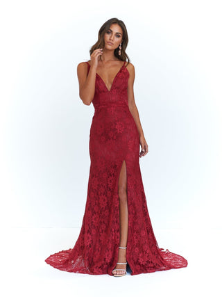 A&N Ayla - Lace V Neck Gown with Front Slit in Deep Red