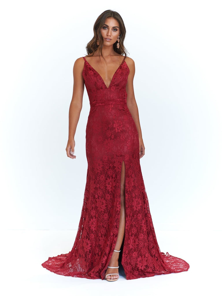 Ayla Formal Dress - Deep Red Lace V Neck Mermaid Gown with Split ...