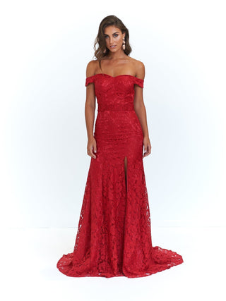 A&N Leyla - Deep Red Off-Shoulder Gown with Side Slit