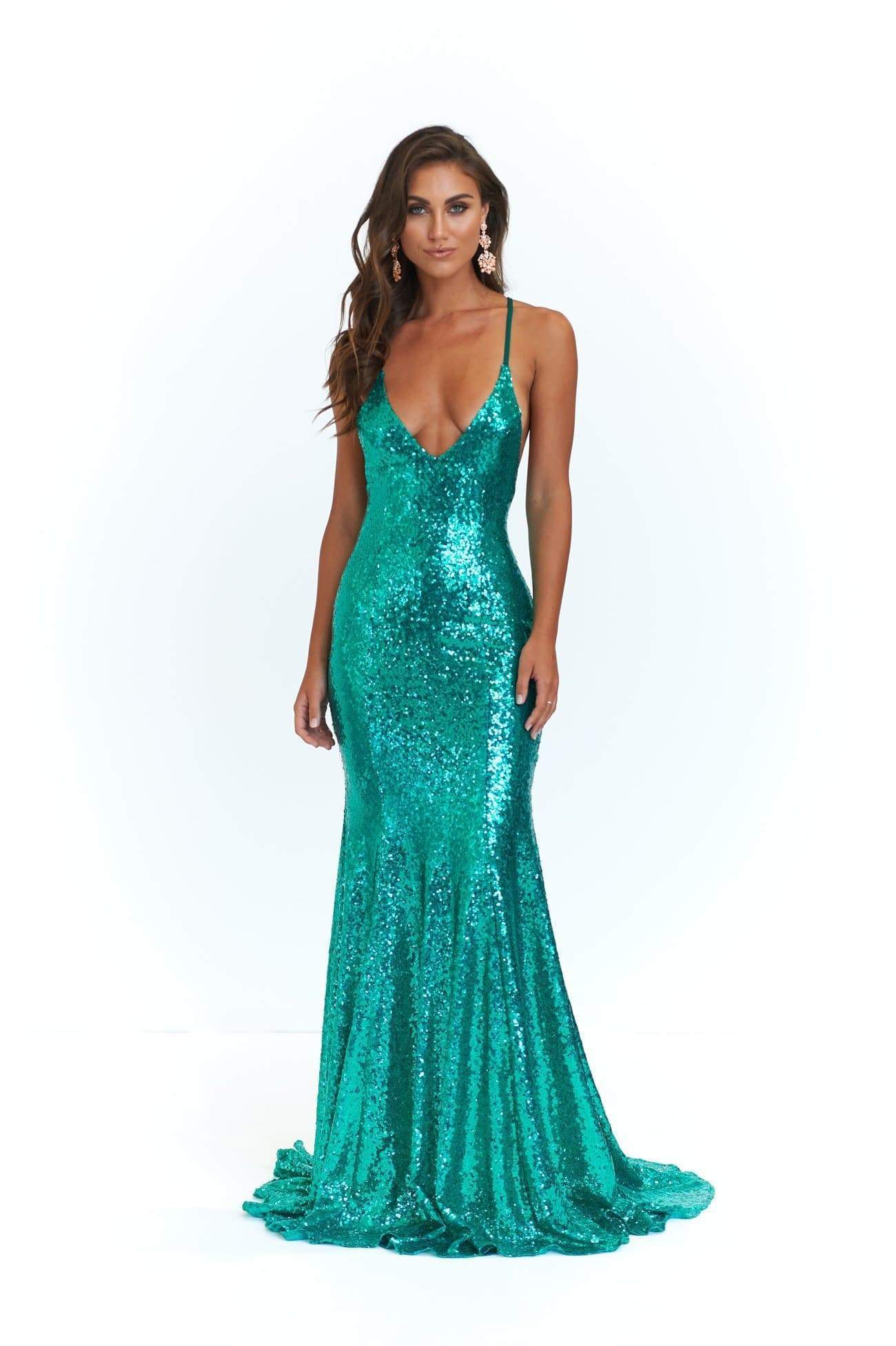 A&N Kendall - Emerald Sequin Gown with V Neck and Criss Cross back