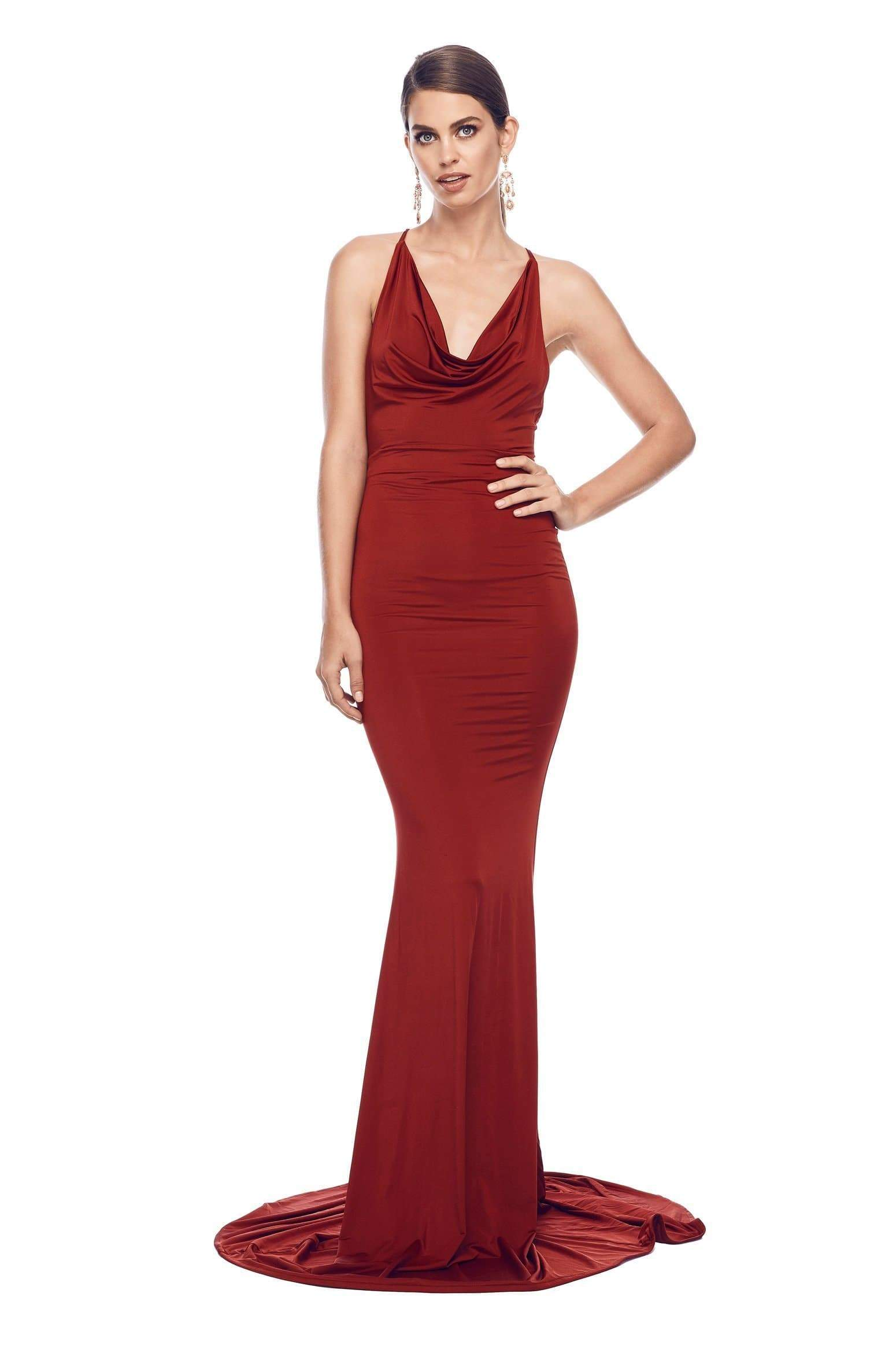 Antonia - Wine Red Jersey Gown with Cowl Neck and Lace Up Straps