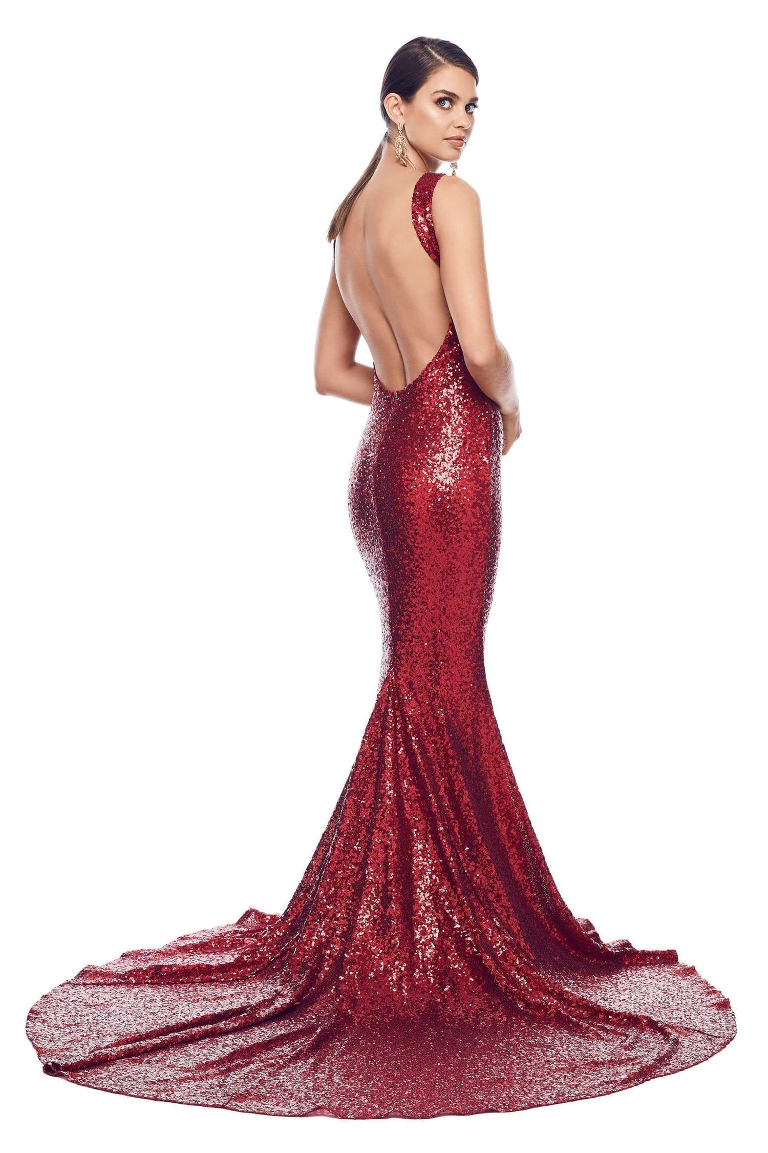 Stone Sequin Gown - Wine Red
