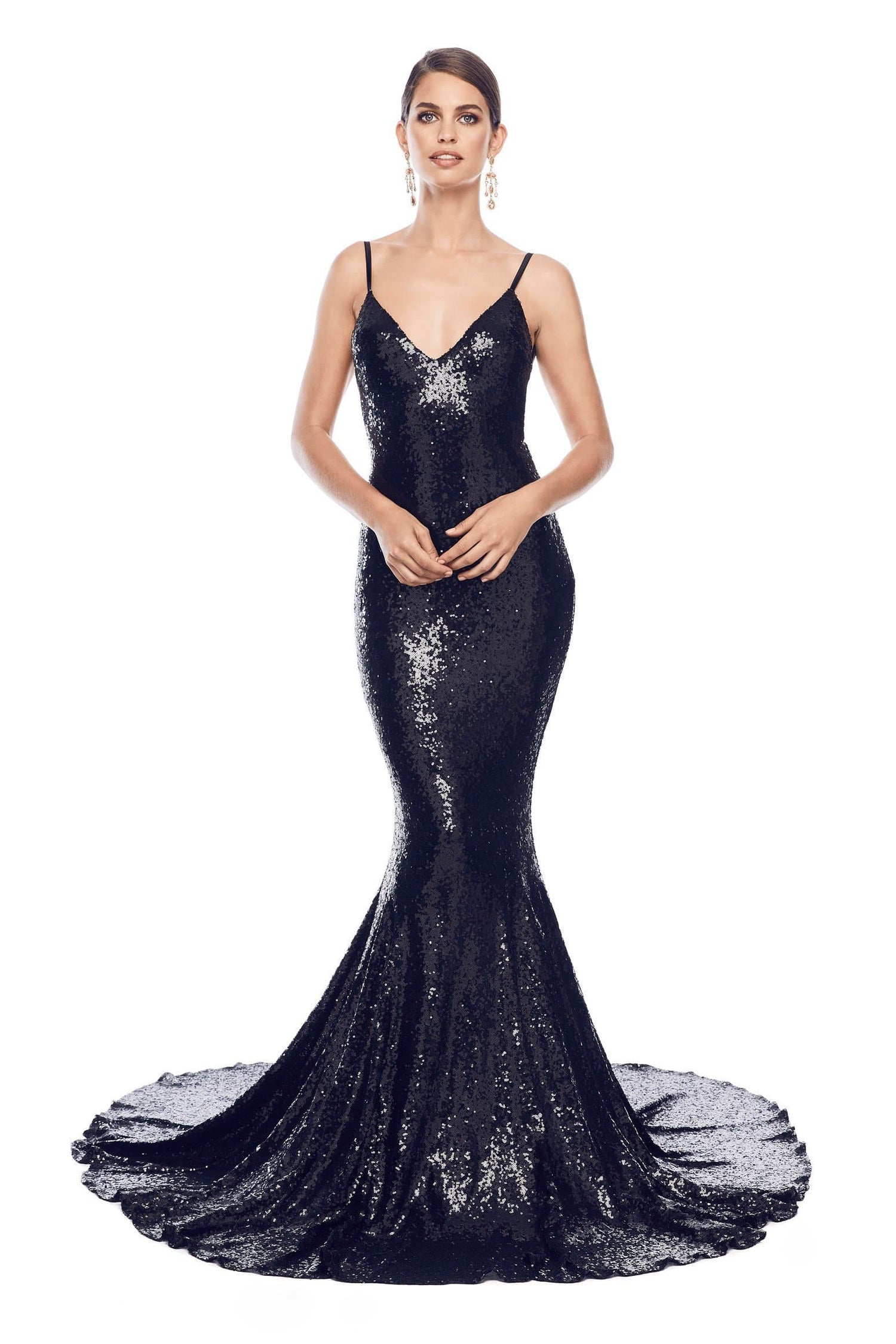 Yassmine Luxe - Black Sequin Backless Gown with V-Neckline