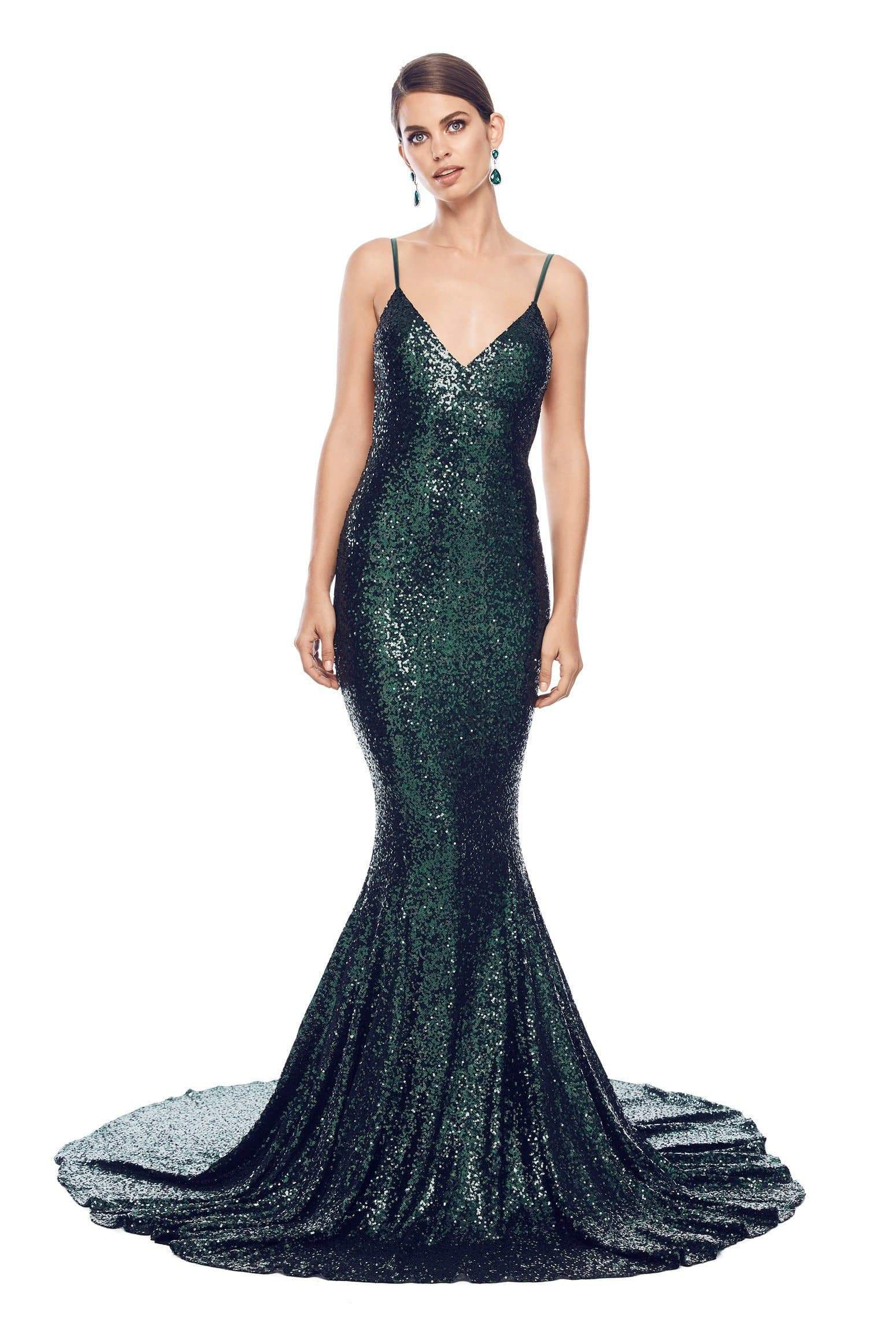 Yassmine Luxe - Backless Emerald Sequin Gown with Plunge Neckline