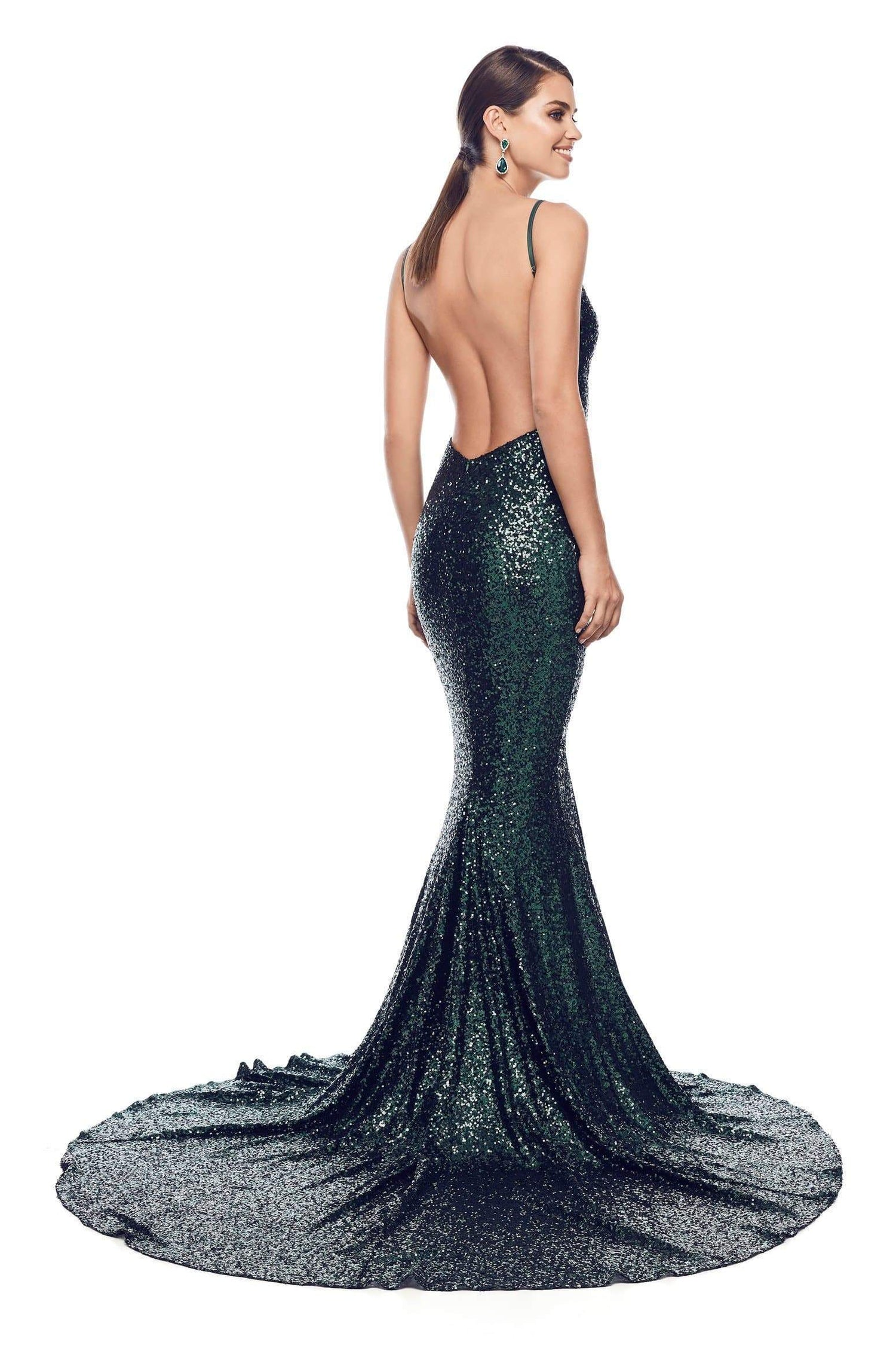 18b7793c8951 Yassmine Luxe - Backless Emerald Sequin Gown with Plunge Neckline ...