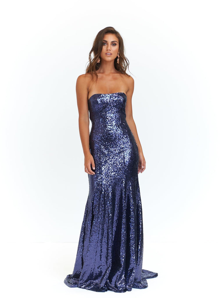 Bella Formal Dress -Navy Sequins Strapless Maxi Prom Gown