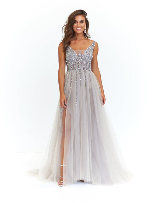 Princessa Formal Gown - Silver Tulle Low Back Beaded Bodice Dress