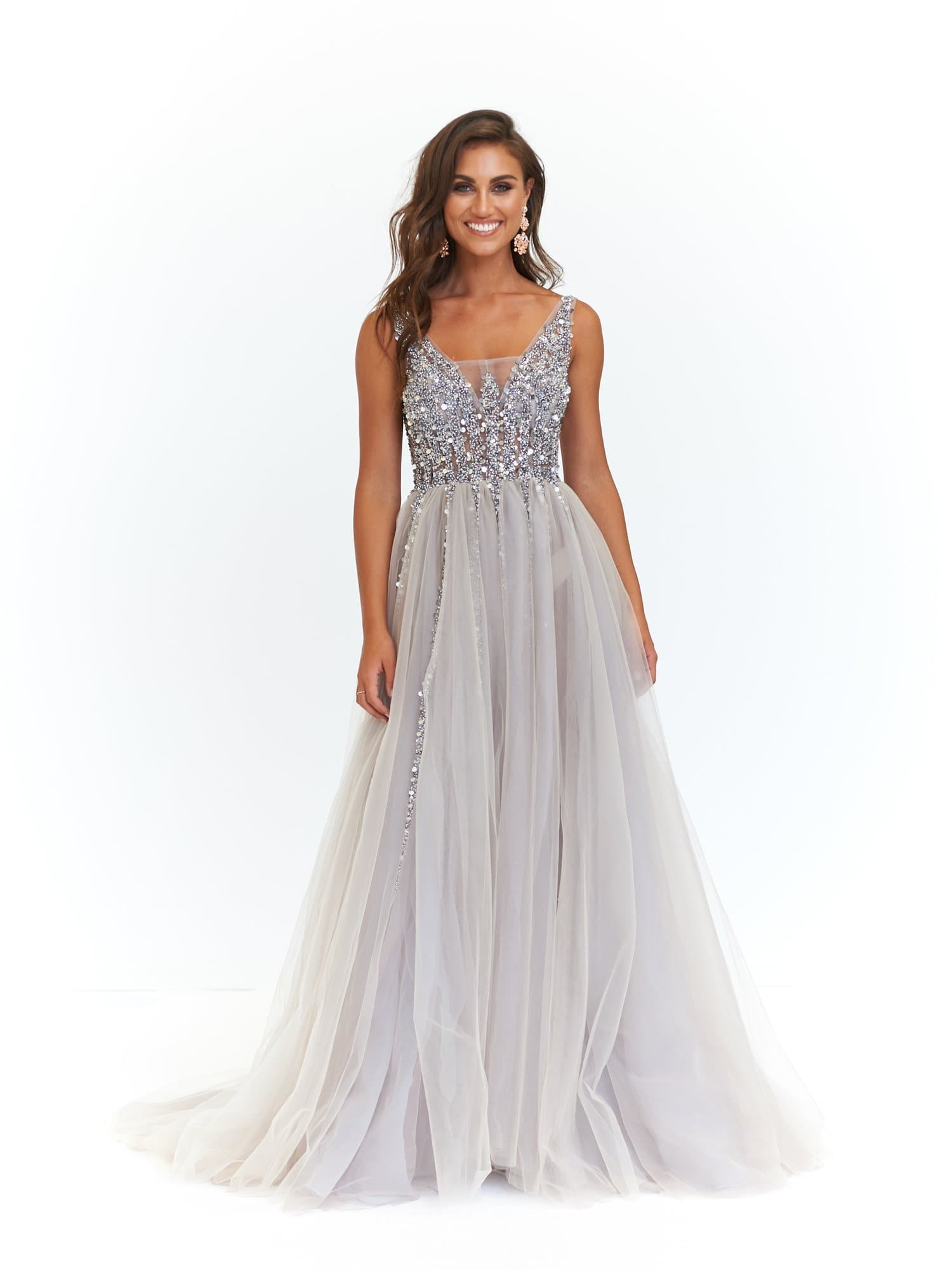 A&N Princessa - Silver Tulle Gown with Low Back and Beaded Bodice