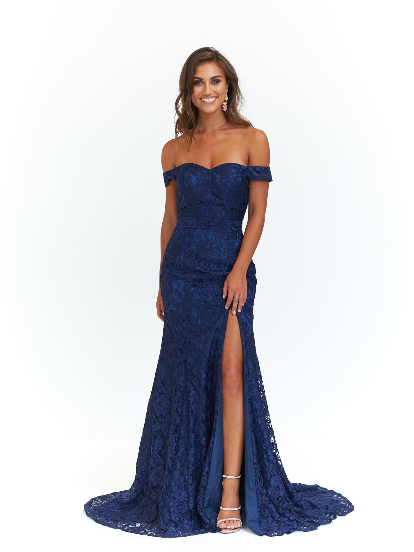 Leyla Formal Dress - Navy Off-Shoulder Lace Split Full Length Gown