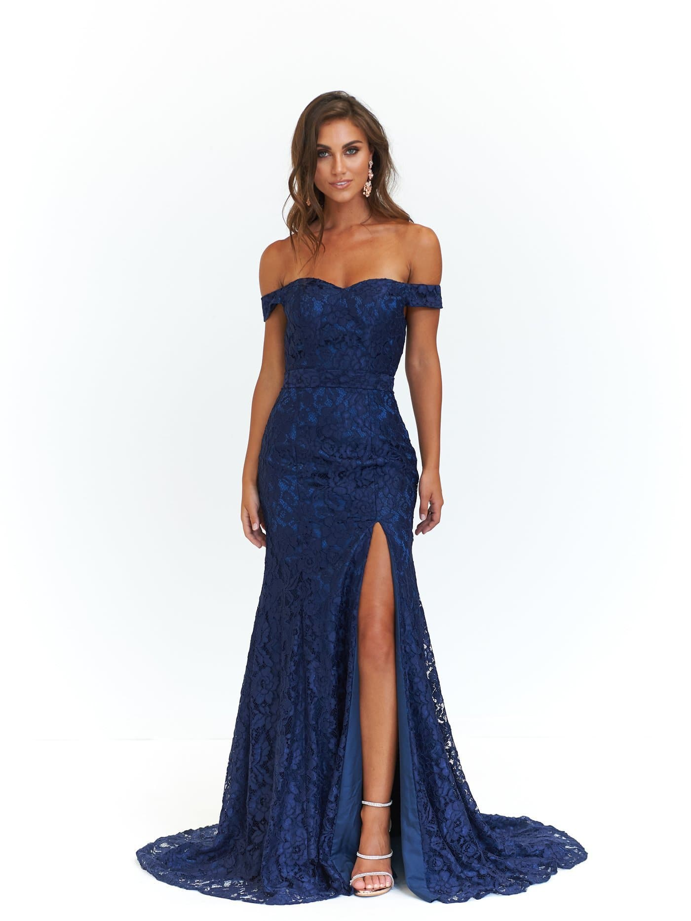 A&N Leyla - Navy Off-Shoulder Lace Gown with Side Slit