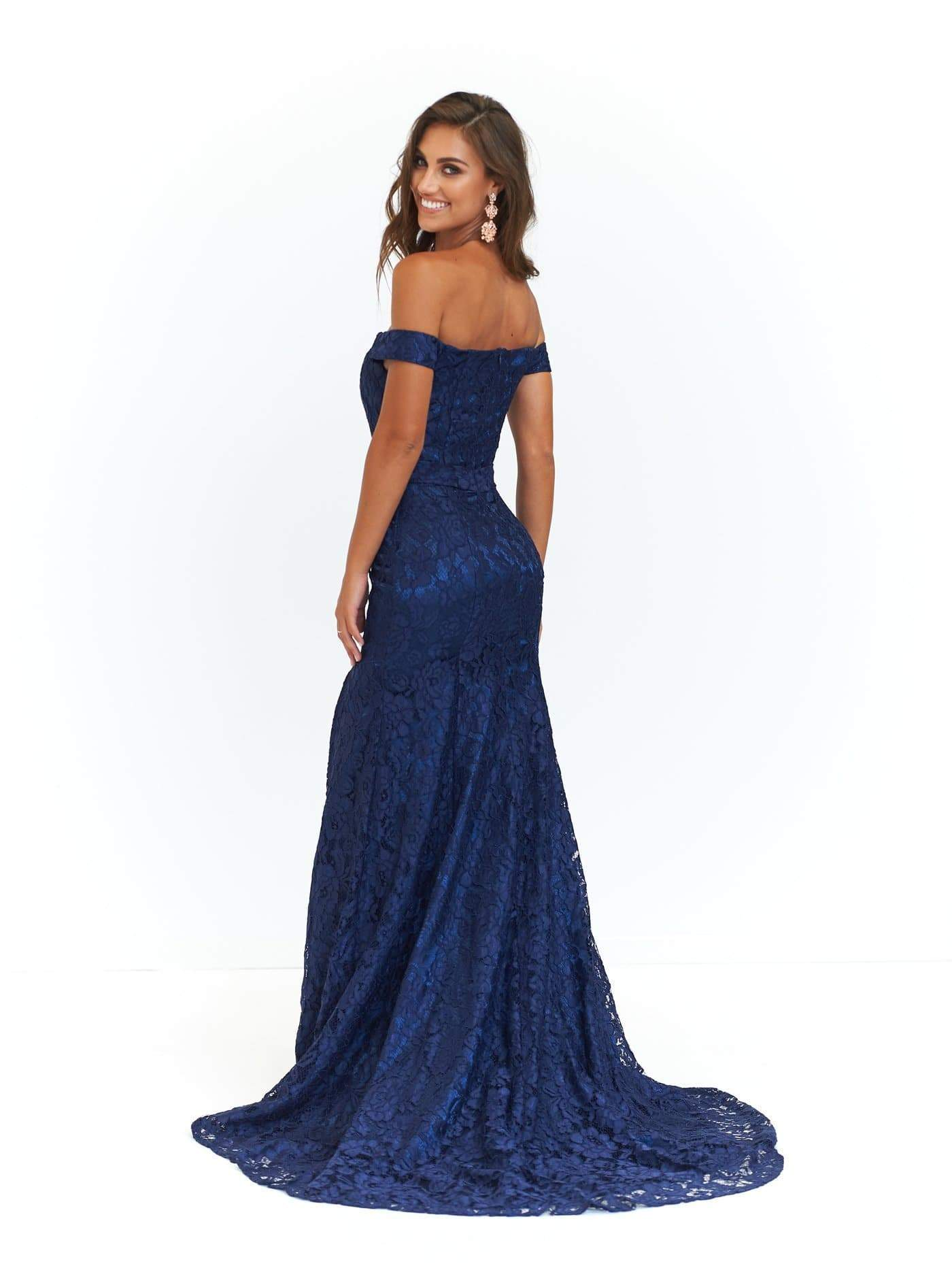 f5050dbe5db9a A&N Leyla - Navy Off-Shoulder Lace Gown with Side Slit – A&N Luxe Label