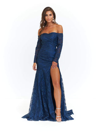 A&N Duaa - Navy Off-Shoulder Lace Gown with Long Sleeves